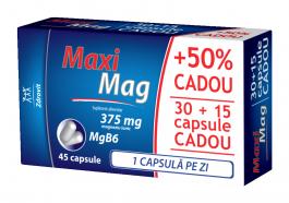 MaxiMag 375 mg, 30 capsule + 15 capsule gratis, Zdrovit