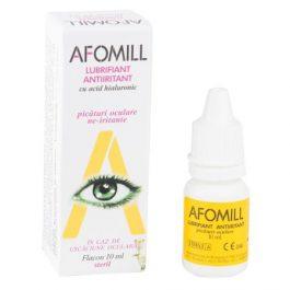Afomill Lubrifiant Antiiritant, picaturi pentru ochi uscati, cu acid hialuronic, lacrimi artificiale, 10ml